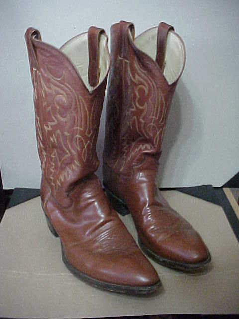 """MENS JUSTIN 13"""" BROWN CLASSIC STYLE WESTERN BOOTS 12B WALKING HEEL  (BOOTS18-2)"""