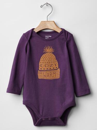 Baby GAP Graphic Long Sleeve Purple Bodysuit Cozy Warm One Piece 0 3 6 mo NWT$13