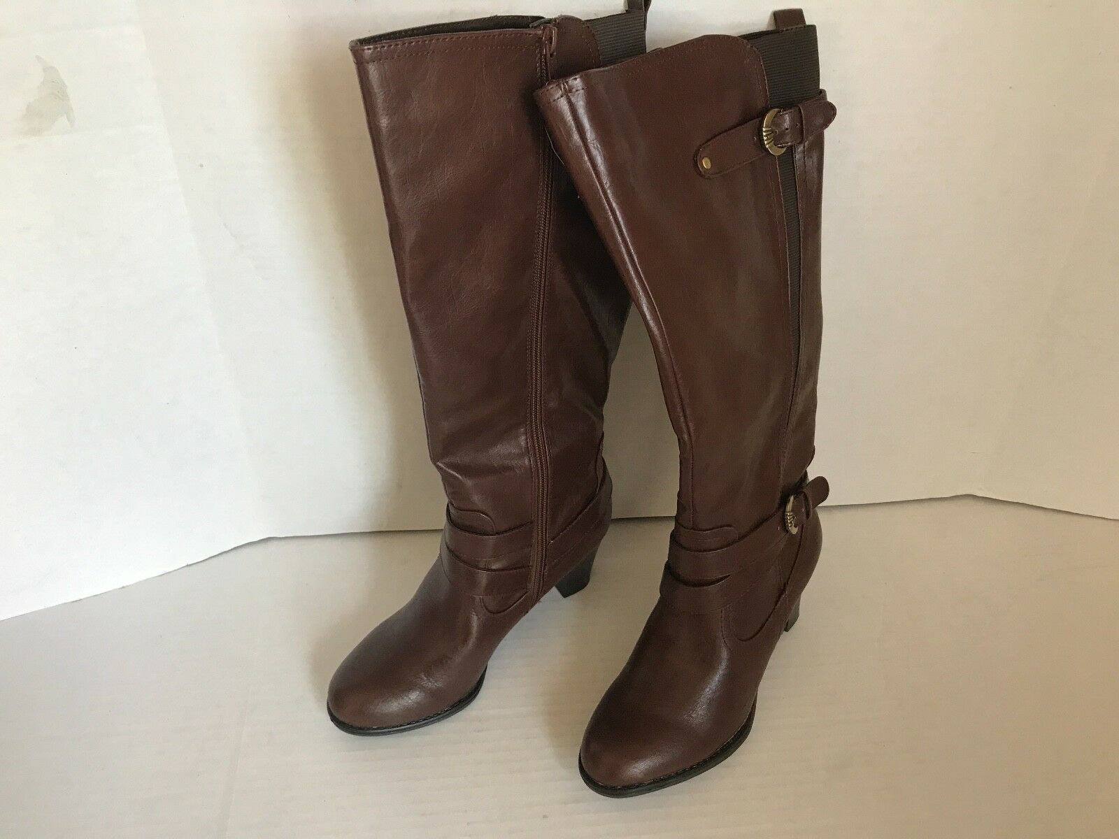 Life Stride Women's Yasir Brown Leather Knee High Boots Size 7.5M