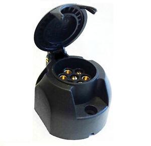 7PIN-BLACK-PLASTIC-PLUG-12n-SOCKET-TOWBAR-CARAVAN-CAR-TRAILER