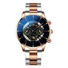 Reloj de pulsera Geneva analógico de cuarzo para hombres dial de banda de acero inoxidable Pulsera de Acero Regalo Decoración