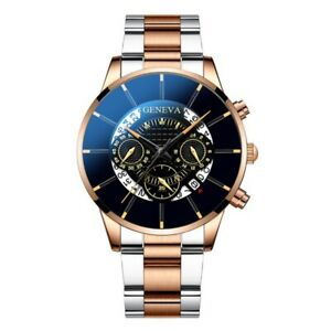 Geneva Men's Quartz Analog Wristwatch Steel Bracelet Band Decoration Dial Gift