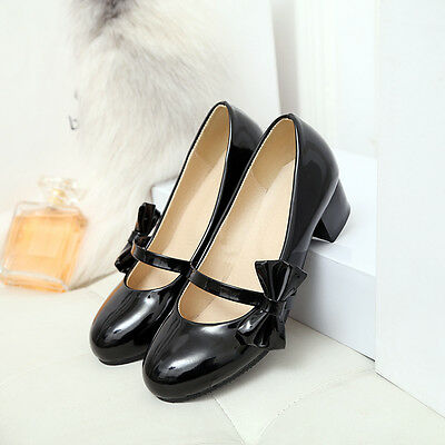 2016 US4-11 womens Mary Janes PU patent bowtie pumps low heels sweet shoes