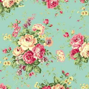 Quilt Gate Rose Garden Floral Bouquets Blue/Aqua Blue Cotton Fab RU2410-11C BTY