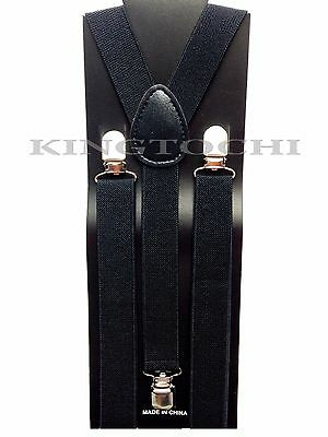 New Mens Women Black Clip-on Suspenders Elastic Y-Shape Adjustable Braces