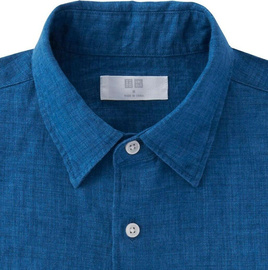 UNIQLO Men's 100% Premium French Linen Long-Sleeve Shirt LARGE bluee (67) NWT
