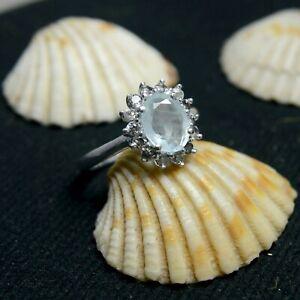 925 Sterling Silver Natural Aquamarine Oval Cut Gemstone Designer Bridal Ring