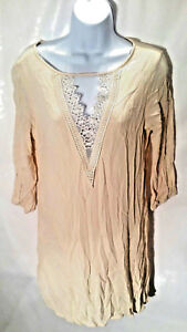 Sage-Women-039-s-Blouse-Tunic-Top-Beige-3-4-Sleeves-Lace-V-Neck-Key-Hole-Size-Small