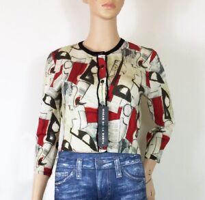 Oscar-de-la-Renta-NWT-Italy-100-Wool-3-4-sleeve-Croped-Cardigan-SZ-S
