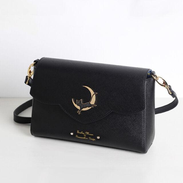 Sailor Moon Messenger Bag Samantha Vega Luna Shoulder Women Black PU Leather Bag