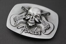 FENDER CROSSED GUITARS SKULL BELT BUCKLE METAL MUSIC ROCK PICK