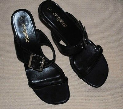 Black Silletto Mule 4 in (approx. 10.16 cm) talón con Hebilla tamaño 4