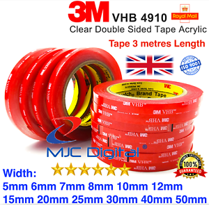 3M VHB DOUBLE SIDED TAPE ROLL VERY STRONG SELF ADHESIVE STICKY TAPE CLEAR BLACK