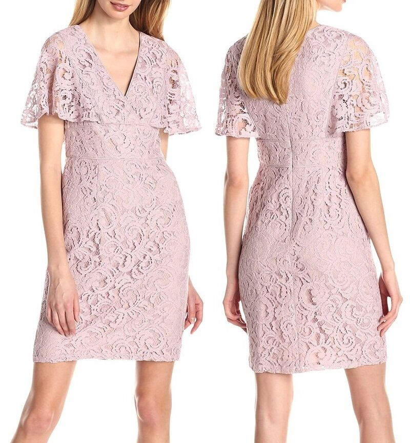 Adrianna Papell Pink Flutter-Sleeve Lace Sheath Dress -  MSRP  140