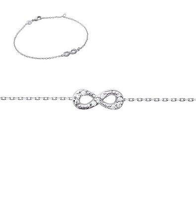 Bracelet moyen Infini INFINITY + Zirco 18cm Bijoux en ARGENT NEUF