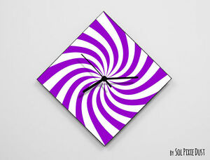 Purple Lines Retro Optical Illusion Wall Clock