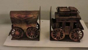 Copper-Wild-West-Stagecoach-and-Covered-Wagon-Bookends-Made-in-Japan