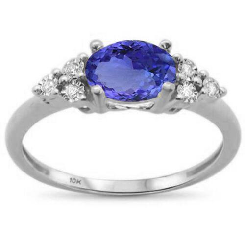 .66ct F SI 10K White Gold Oval Tanzanite /& Diamond Ring Size 6.5