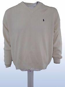 maglione-uomo-bianco-lana-vintage-anni-90-JACQUES-GERMAIN-scollo-v-tg-XL