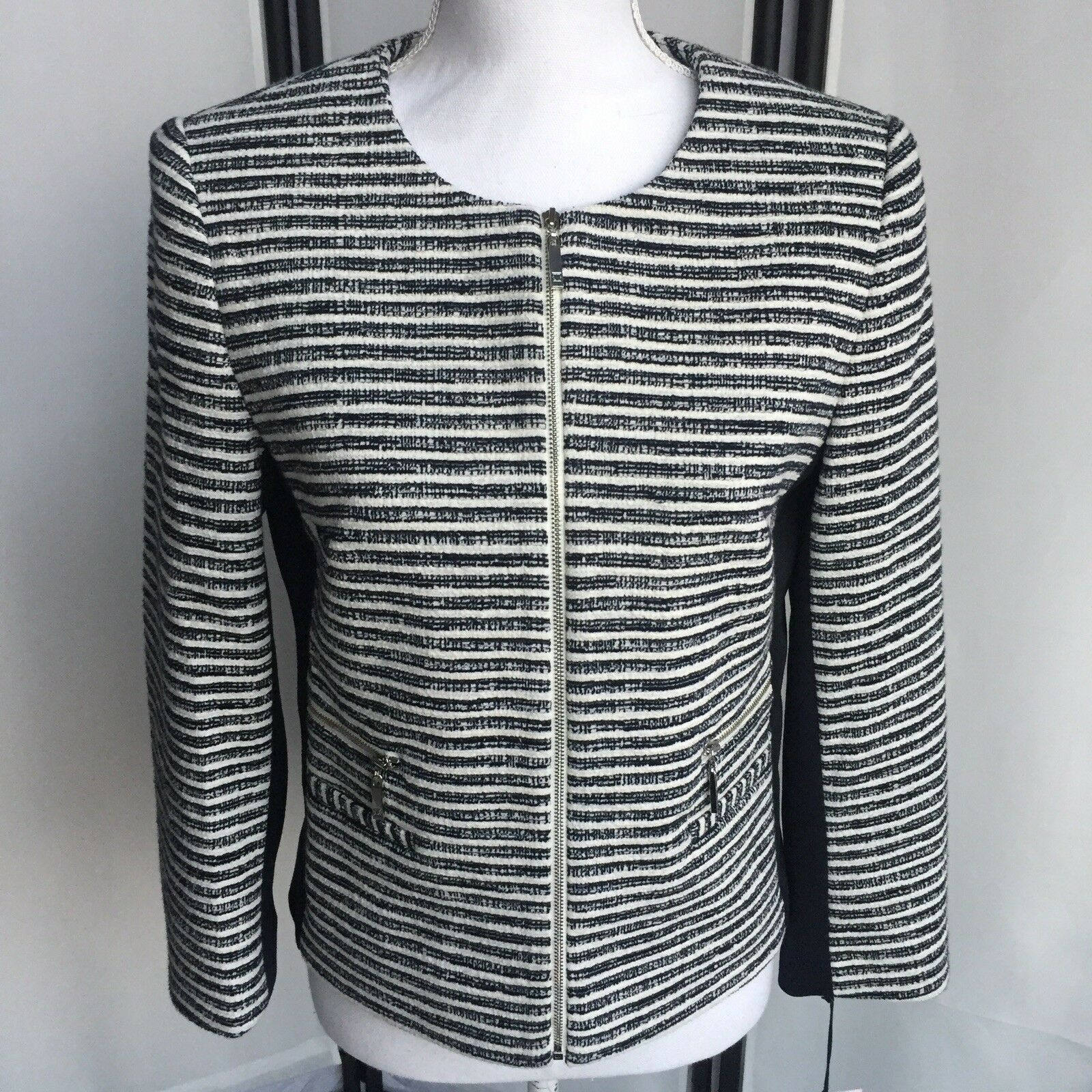 Ivanka Trump Womens Size 6 New Full Zip Cropped Blazer Top Striped  139 MSRP C2