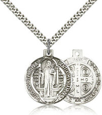 "Saint Benedict Medal For Men - .925 Sterling Silver Necklace On 24"" Chain - 3..."