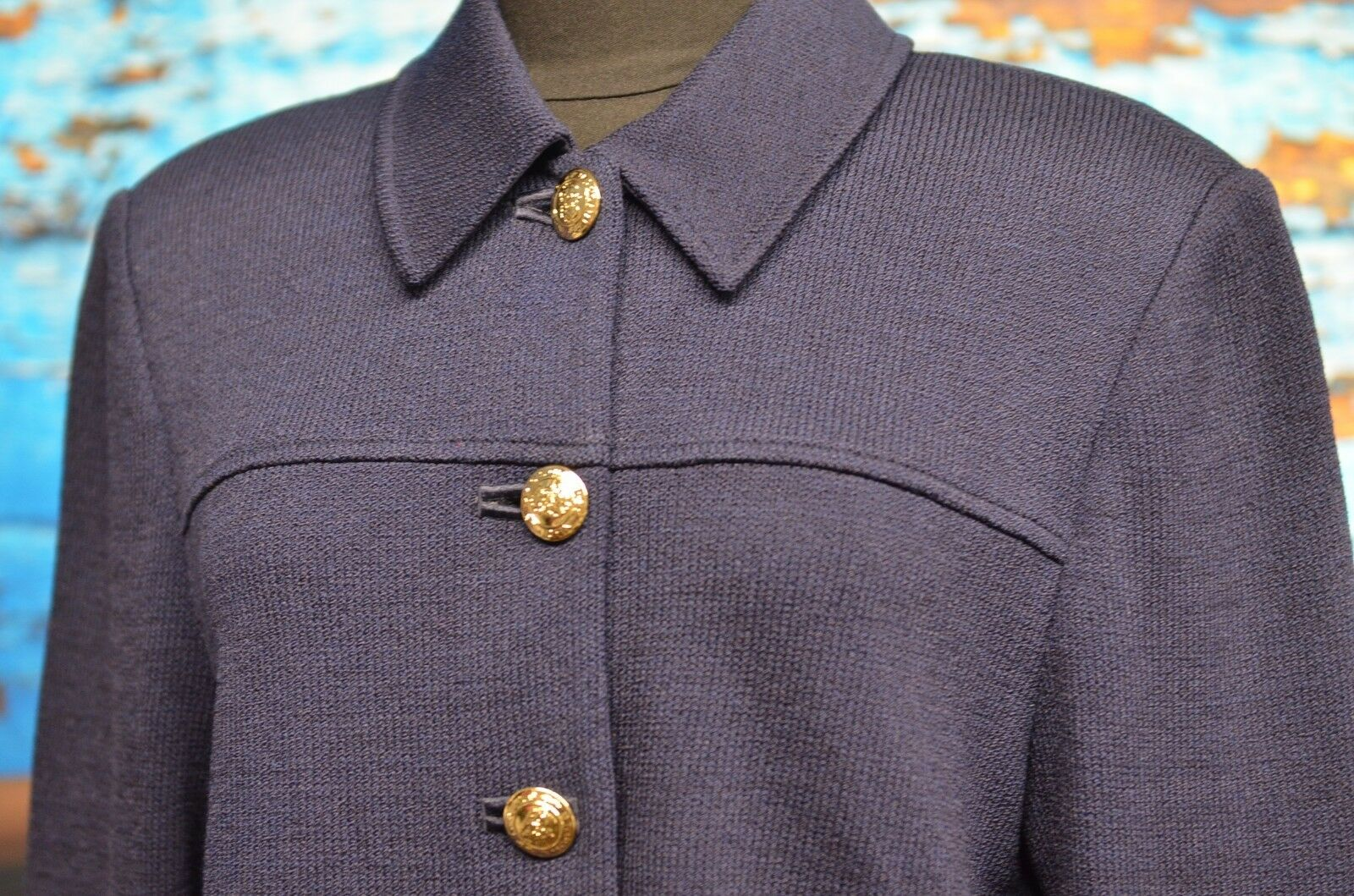St. John Sz 10 Basics Navy bluee Knit Blazer Metallic gold Logo Buttons