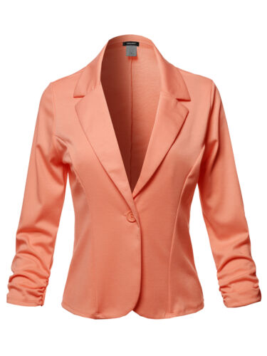 FashionOutfit Women/'s Casual Solid One Button Classic Blazer Jacket-Made in USA