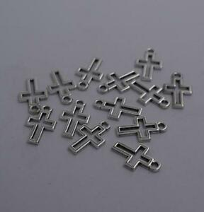 12pcs-Antique-silver-plated-nice-hollow-little-cross-charm-pendant-T0860