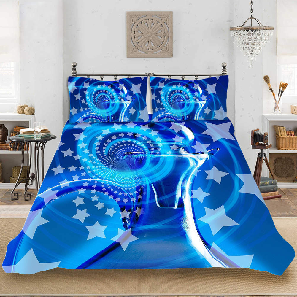 Blau Stars Dreams 3D Quilt Duvet Will Startseite Set Single Double Königin König Drucken