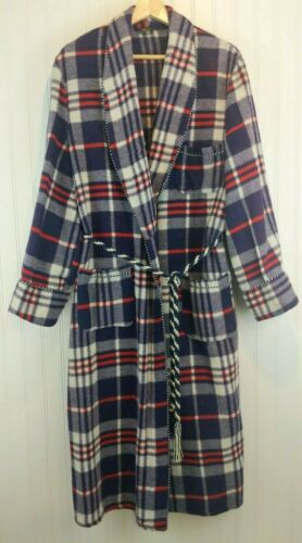 Vintage Beacon Robe 1940s 50s Blue Red Plaid Blank
