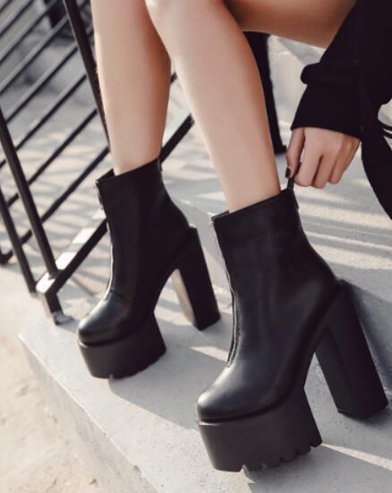 femmes Gothic Round Toe High Block Heels Platform Ankle Riding bottes chaussures G503