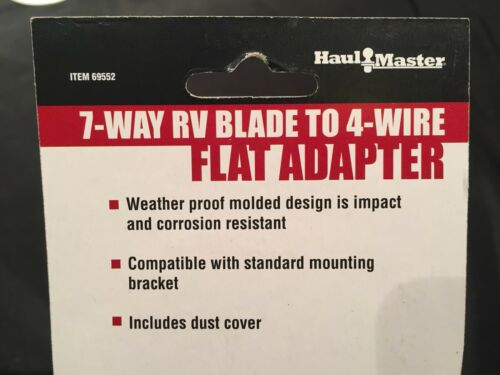 7 Way RV Blade to 4 Wire Flat Adapter Trailer Hauling Plug In Wiring Haul Master