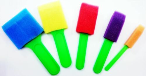 5 Colour Crafting Sponges Plastic Foam Brush Handle Paint Craft Application Art
