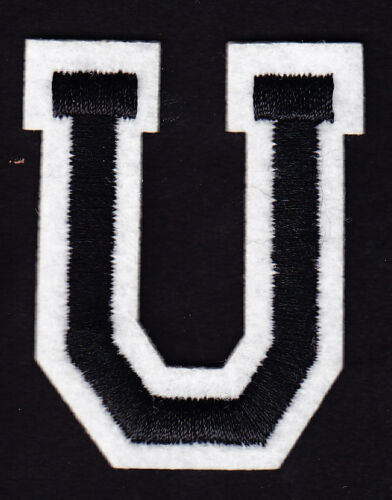 """2/"""" Black /& White Letter  /""""U/"""" LETTERS Iron On Embroidered  Applique"""