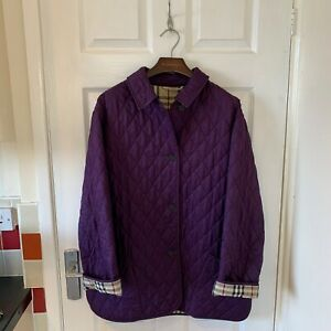Womens-BURBERRY-Quilted-Jacket-Coat-Size-Large-UK-14-16-Purple-Nova-Check
