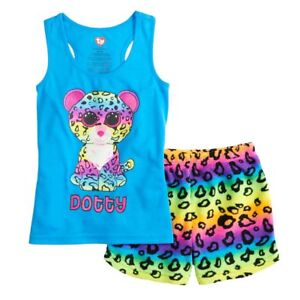 c74159723ba NWT TY Beanie Boo Short Pajamas PJ Girls Dotty Rainbow Leopard 4 5 6 ...