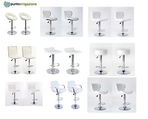 Sgabello-Bianco-Bar-girevole-moderno-sedia-regolabile-cucina-kit-2-pz-offerta