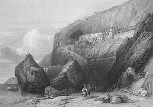 ITALY Capuchin Convent at Amalfi - 155 Years Old Antique Print Engraving