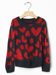 NWT $35 Baby GAP Girls Intarsia Heart Sweater Navy Red 12 18 months Twins?