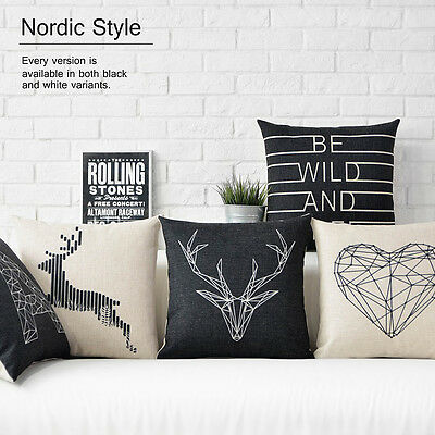 "Black White Nordic Deer Animal Heart Flax Linen Pillow Case Cushion Cover 18""x18"