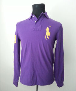 POLO Ralph Lauren Men Size S Long Sleeve Polo Shirt Purple Custome Fit ( Slim )