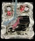 Baby Silver Plated Money Box, Shoes For Tooth And Curl, Pink And Blue Laces.