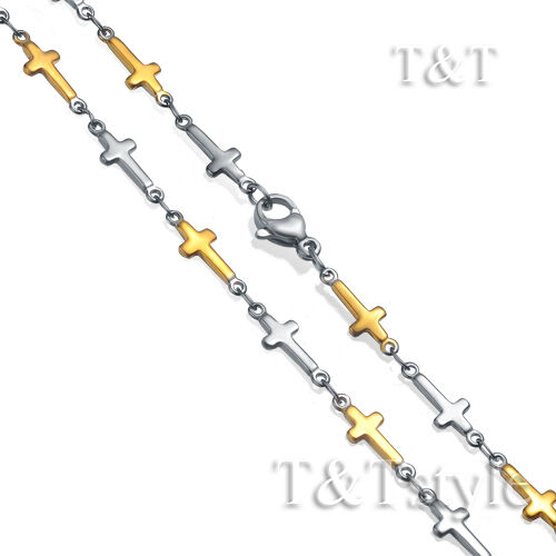 C155 New Style T/&T 5mm Stainless Steel Cross Chain Necklace Silver