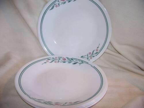 CORELLE 4 ROSEMARIE DESSERT BREAD BUTTER PLATES DINNERWARE PINK GREEN FLORAL