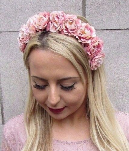 Beige Blush Pink Rose Flower Headband Hair Crown Festival Bridesmaid Boho 4321