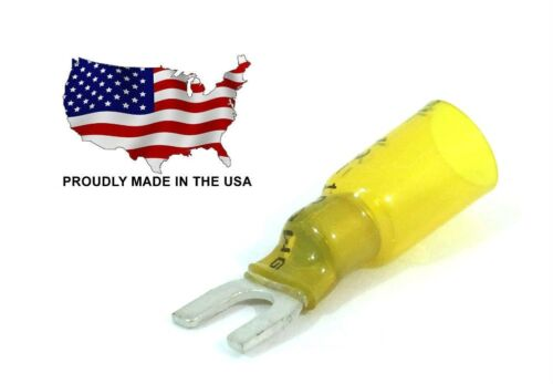 25 Yellow Heat Shrink 18-22 AWG Spade Fork Wire Connector Terminal #8 Stud USA