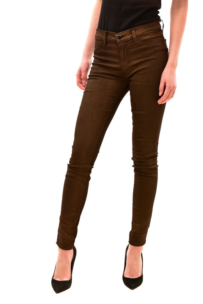 J BRAND Women's Mid-Rise Super Skinny Jeans Size 27 Brown RRP  186 BCF82