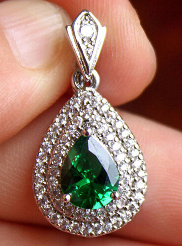 "18K White Gold Filled 1/"" Waterdrop Emerald Topaz Zircon Cocktail Lady Pendant"