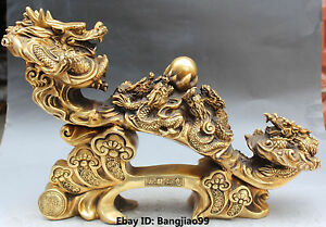 "Antiquities 21"" Marked China Bronze Fengshui Money Wealth 9 Dragon Dragons Ru Yi Ruyi Statue Matching In Colour"
