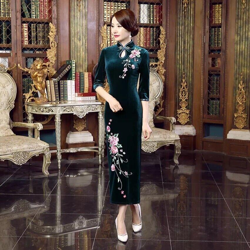 NUOVO Lussuoso Lussuoso Lussuoso Velluto Royal verde Cinese Vestito Lungo Cheongsam Qipao lcdress 69 7f4743